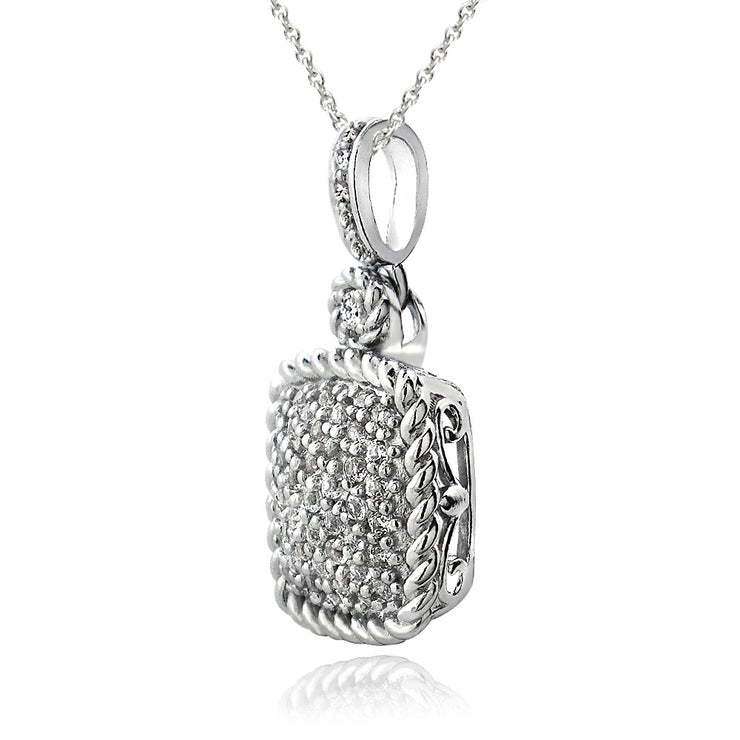 Sterling Silver 1.5ct White Topaz Square Rope Pendant Necklace