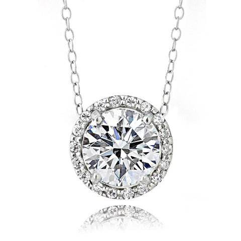 Platinum Plated Sterling Silver 100 Facets Cubic Zirconia Halo Necklace (2cttw)