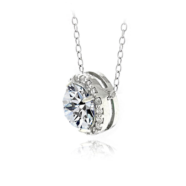 Jewel Tie 925 Sterling Silver White CZ Cubic Zirconia Initial C Pendant 11mm x 21mm