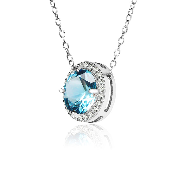 Sterling Silver Created Aquamarine and Cubic Zirconia Round Halo Necklace