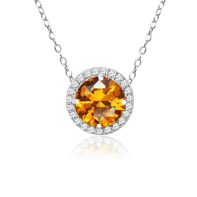 Sterling Silver Simulated Citrine and Cubic Zirconia Round Halo Necklace