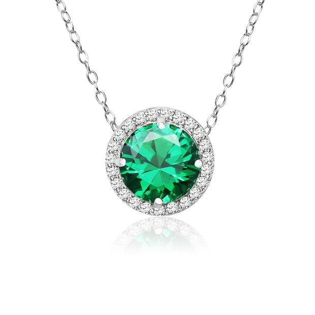 Sterling Silver Created Emerald and Cubic Zirconia Round Halo Necklace