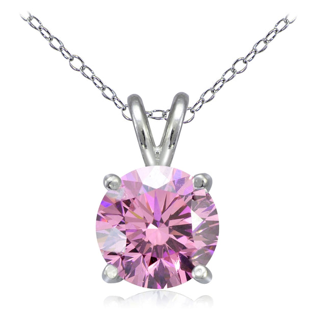 Platinum Plated Sterling Silver 100 Facets Light Pink Cubic Zirconia Necklace (2cttw)
