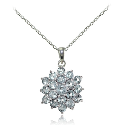 Sterling Silver Aquamarine Flower Necklace