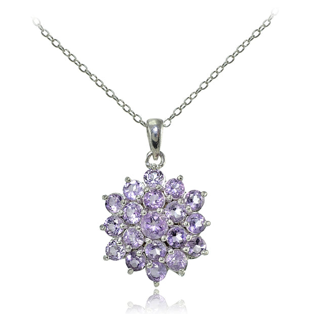 Sterling Silver Amethyst Flower Necklace