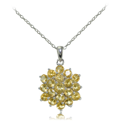 Sterling Silver Citrine Flower Necklace