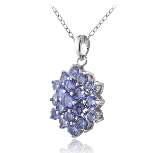 Sterling Silver Tanzanite Flower Necklace