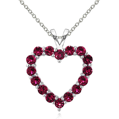 Sterling Silver 2.25 Carat Created Ruby Open Heart Necklace