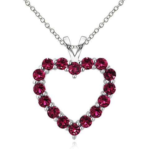 Sterling Silver 2.25 Ct Created Ruby Open Heart Necklace