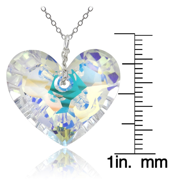Sterling Silver Aurora Borealis Fashion Heart Pendant Necklace Made with Swarovski Crystals