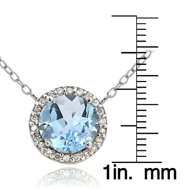 Sterling Silver 2.5ct Blue Topaz & 1/10 ct Diamond Solitaire Necklace