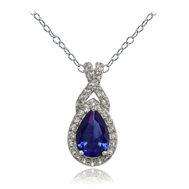 Sterling Silver Created Blue Sapphire and White Topaz X and Teardrop Necklace