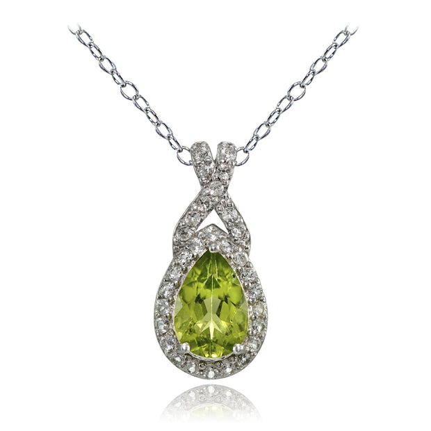 Sterling Silver Peridot and White Topaz X and Teardrop Necklace