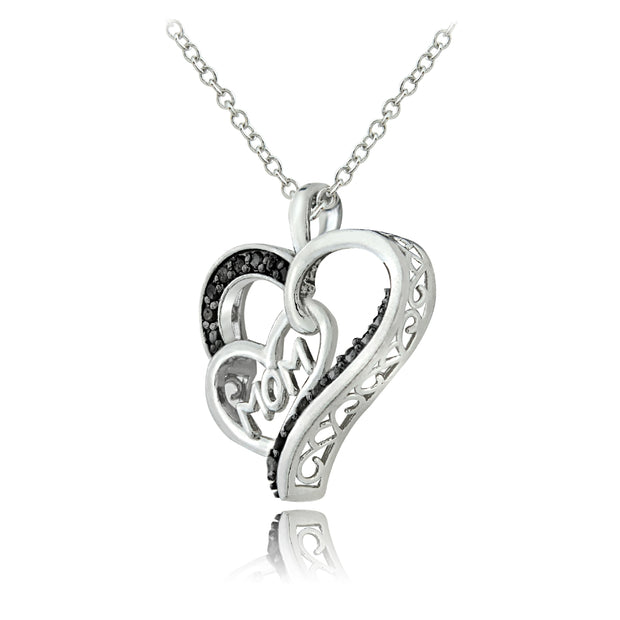 Sterling Silver 1/8 ct Black Diamond MOM Double Heart Necklace