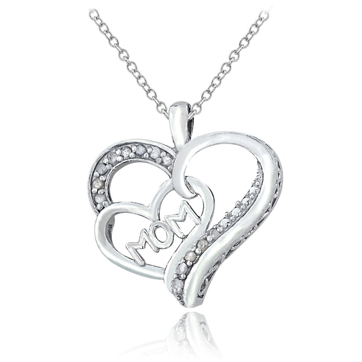 Sterling Silver 1/8 ct Diamond MOM Double Heart Necklace