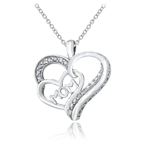 Sterling Silver 1/8ct Diamond MOM Double Heart Necklace