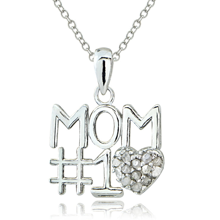 Sterling Silver 1/8 ct Diamond #1 MOM Necklace
