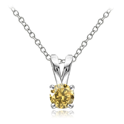 Sterling Silver Citrine 5mm Round Solitaire Necklace
