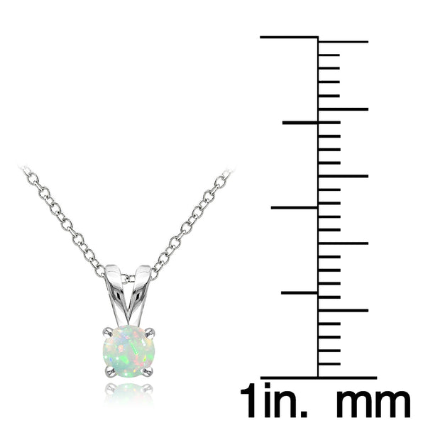 Sterling Silver Ethiopian Opal Round Solitaire Necklace,  5mm