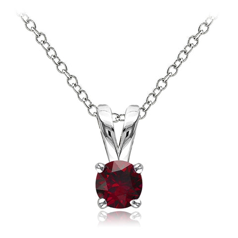 Sterling Silver Created Ruby 5mm Round Solitaire Necklace