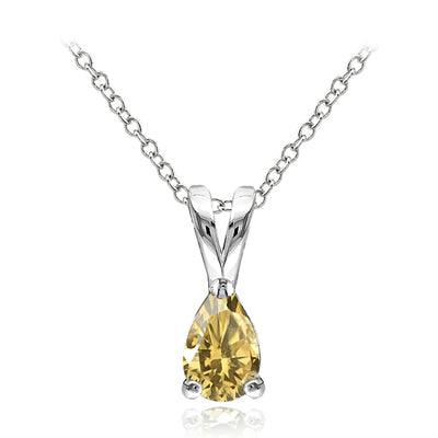 Sterling Silver Citrine 6x4mm Teardrop Solitaire Necklace