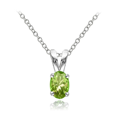 Sterling Silver Peridot 6x4mm Oval Solitaire Necklace