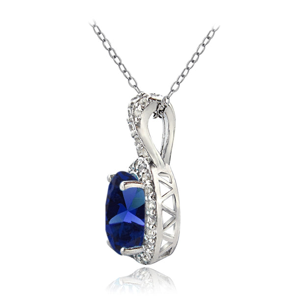 Sterling Silver Created Blue Sapphire & White Topaz X and Oval Necklace