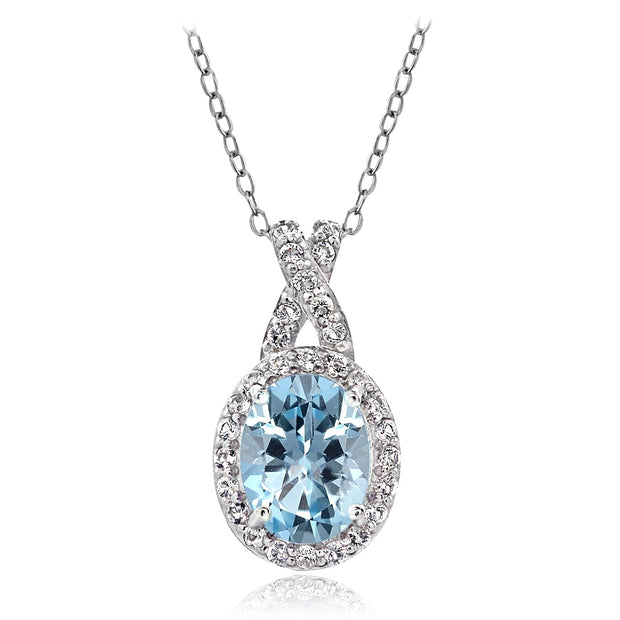 Sterling Silver Blue & White Topaz X and Oval Necklace