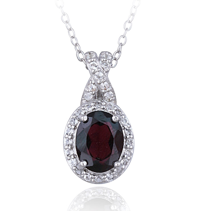 Sterling Silver Garnet & White Topaz X and Oval Necklace