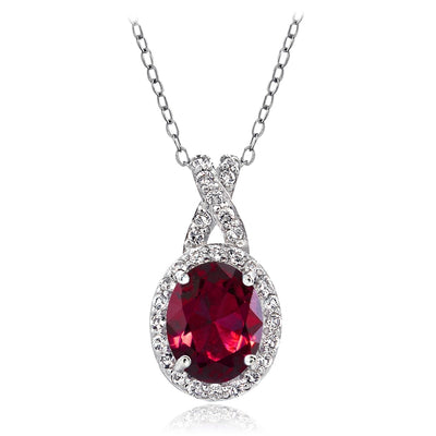 Sterling Silver Created Ruby & White Topaz X and Oval Necklace