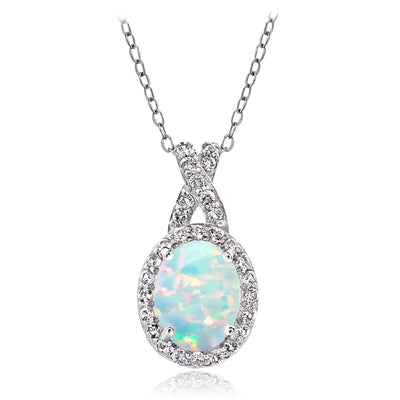Sterling Silver Simulated White Opal & White Topaz X and Oval Necklace