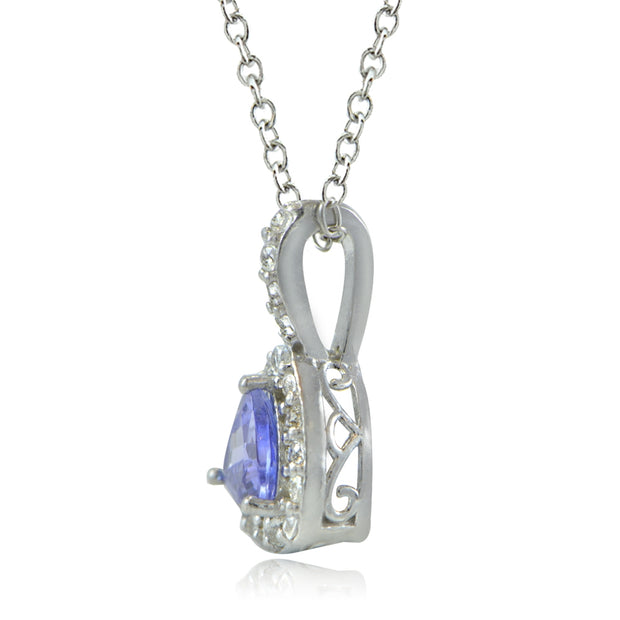 Sterling Silver Tanzanite & White Topaz Trillion-Cut Necklace