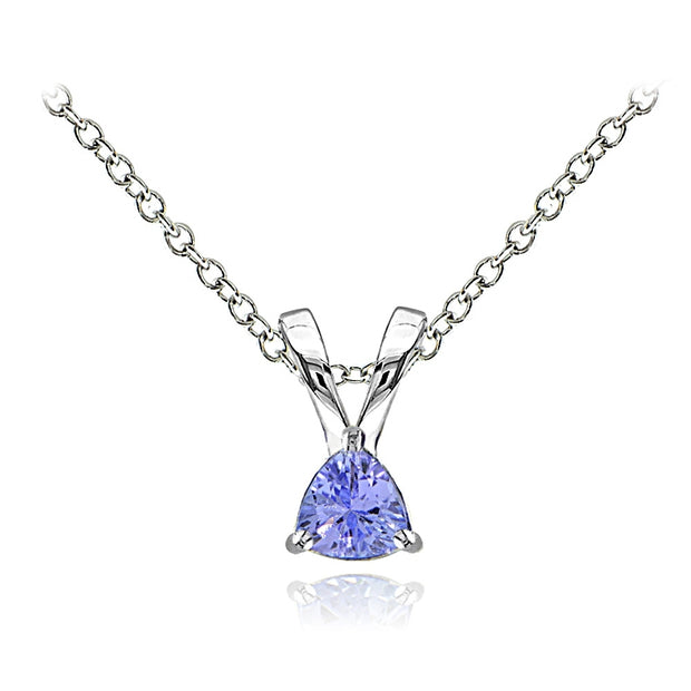 Sterling Silver Tanzanite Trillion-Cut Solitaire Necklace