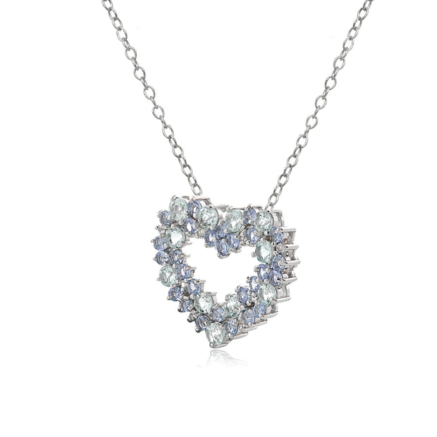 Sterling Silver 1.8ct TGW Aquamarine & Tanzanite & 1/10 Carat tdw Diamond Cluster Heart Necklace