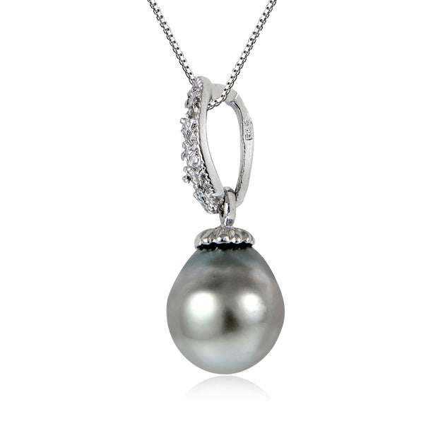 Sterling Silver 11mm Tahitian Cultured Pearl & White Topaz Loop Drop Necklace