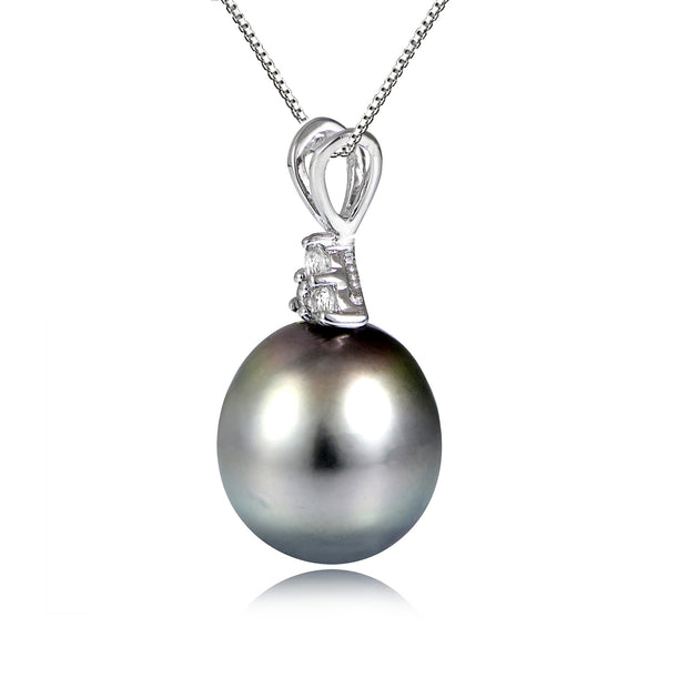 Sterling Silver 11mm Tahitian Cultured Pearl & White Topaz Stud Necklace