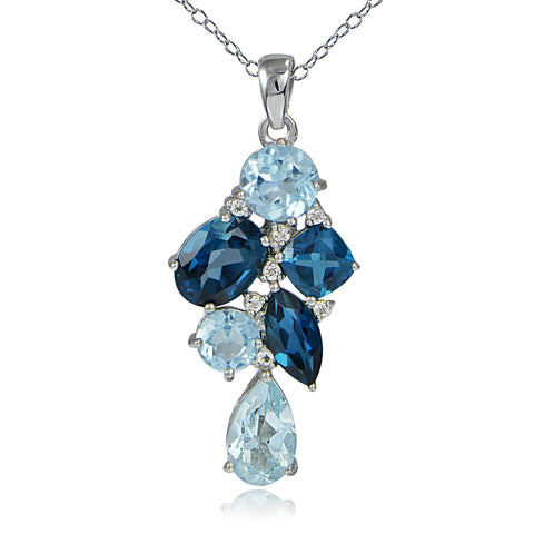 Sterling Silver London Blue, Blue Topaz and White Topaz Tonal Cluster Necklace