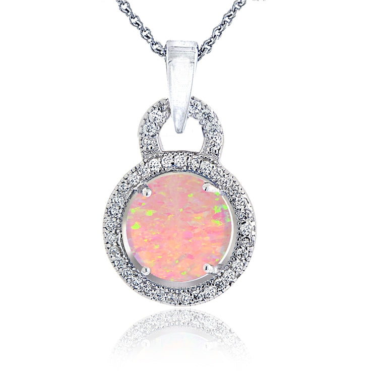 Sterling Silver Created Pink Opal & Cubic Zirconia Round Necklace