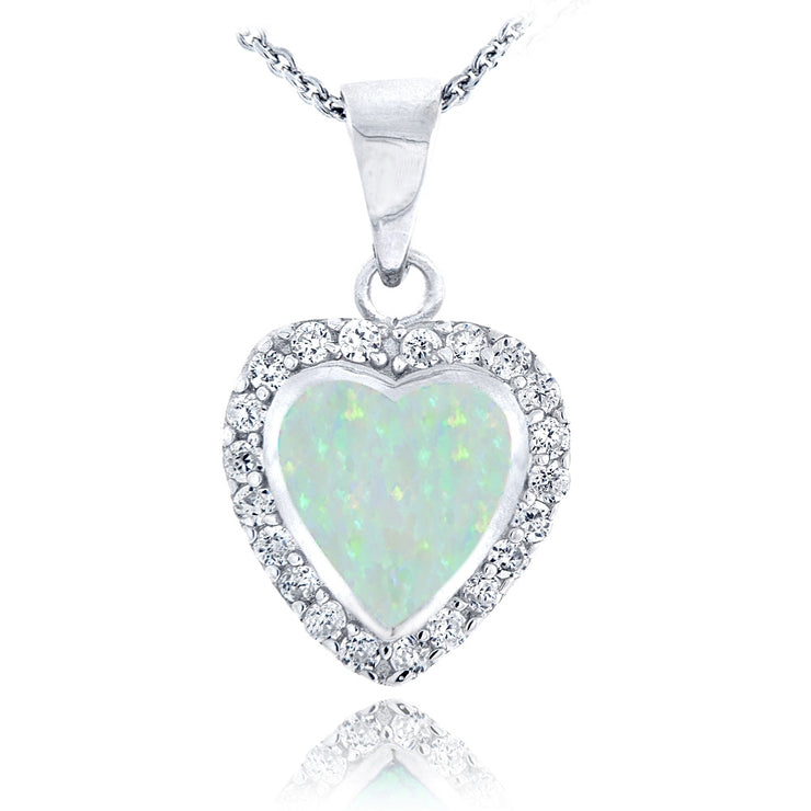 Sterling Silver Created White Opal & Cubic Zirconia Heart Necklace
