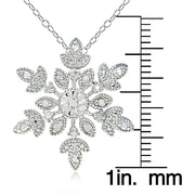 Sterling Silver 1/10 Carat tdw Diamond Snowflake Necklace