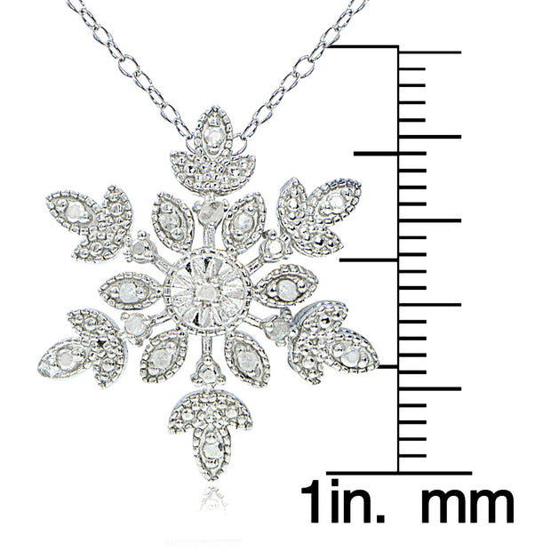 Sterling Silver 1/10 ct tdw Diamond Snowflake Necklace