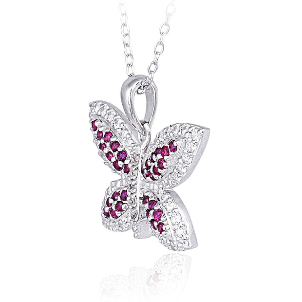 Sterling Silver Created Ruby Gemstone Butterfly Necklace