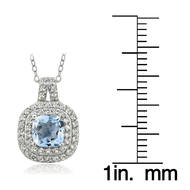 Sterling Silver 1.50ct Blue & White Topaz Cushion-Cut Necklace