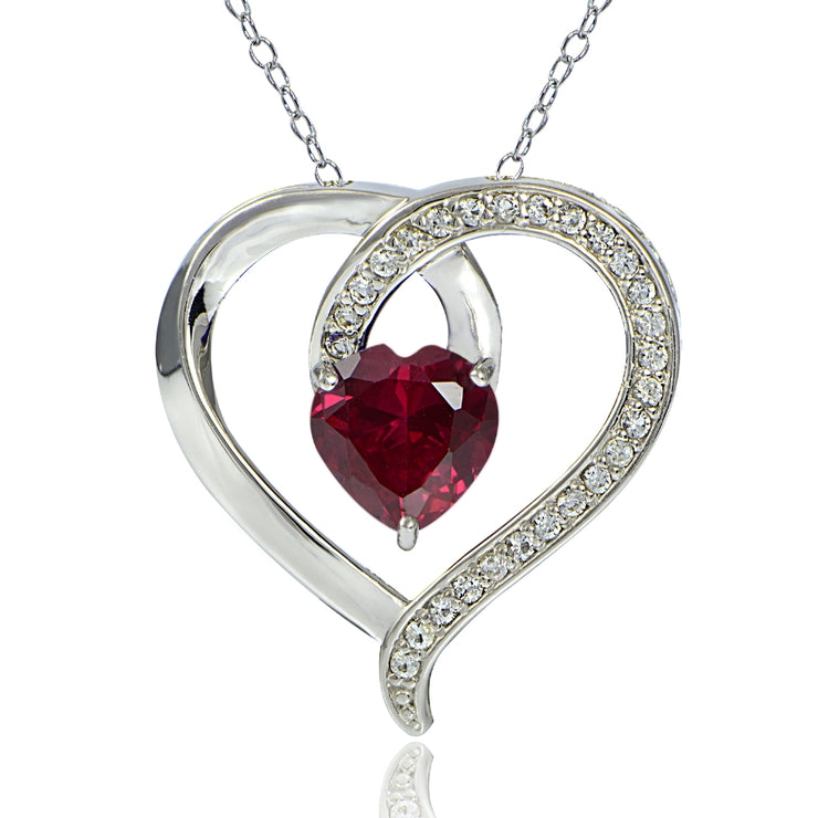 Sterling Silver 2.25ct TGW Created Ruby & White Sapphire Heart Necklace