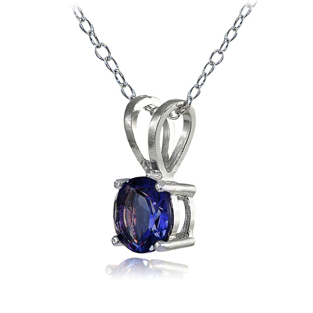 Sterling Silver Created Blue Sapphire 7mm Round Solitaire Necklace