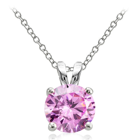 Sterling Silver 4ct Light Pink Cubic Zirconia 10mm Round Solitaire Necklace