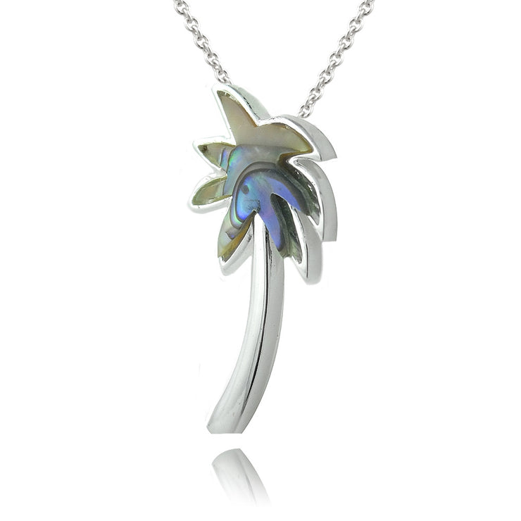 Sterling Silver Abalone Palm Tree Necklace