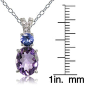 Sterling Silver 1.75ct TGW Amethyst and Tanzanite with White Topaz Oval Necklace