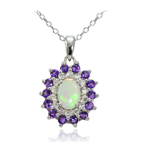 Sterling Silver Ethiopian Opal, African Amethyst & White Topaz Oval Flower Necklace