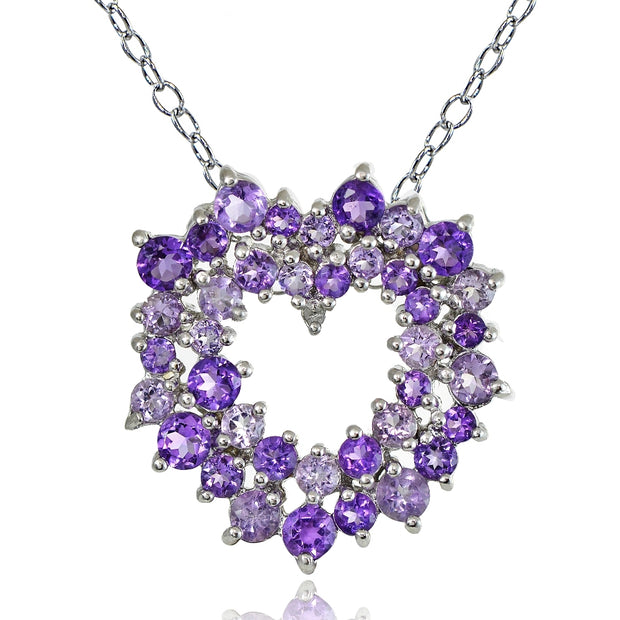 Sterling Silver 5.1 ct African Amethyst, Amethyst and Diamond Accent Cluster Heart Necklace